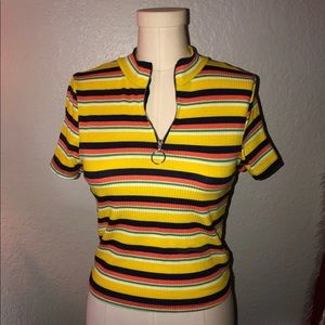 Striped Tee With Zipper Front